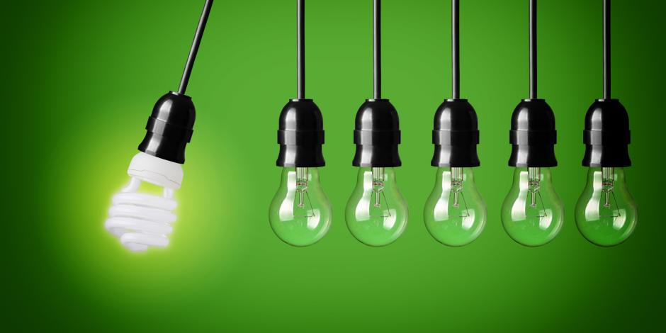 Green Homes Illinois, Energy efficient lightbulbs in a row, IL